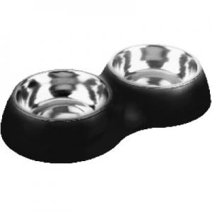 Comedero Perros Acero Doble Negro Home 14 cm